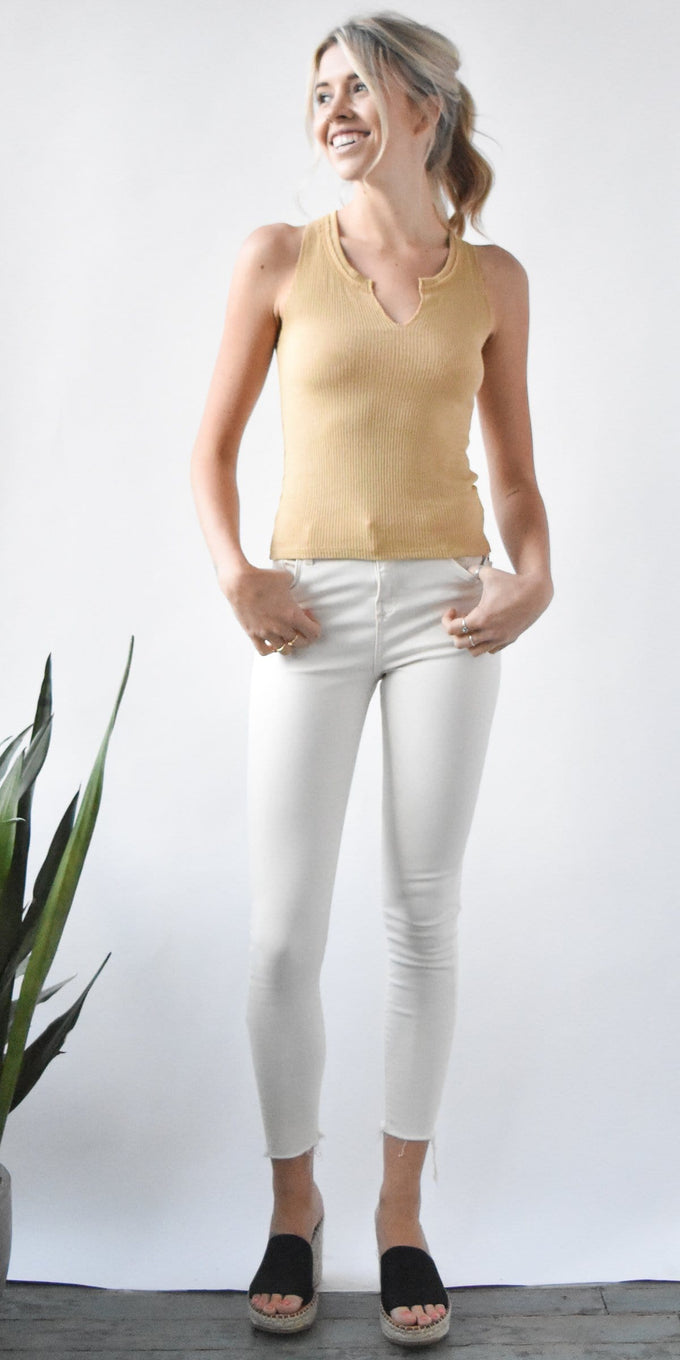 Project Social T Notch Neck Tank in Iced Coffee