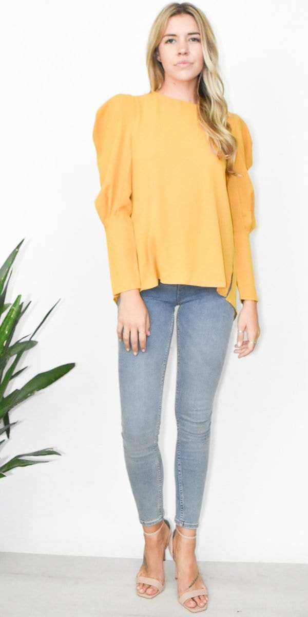 Honey Punch Tie Back Ruffle Sleeve Top in Mustard Yellow