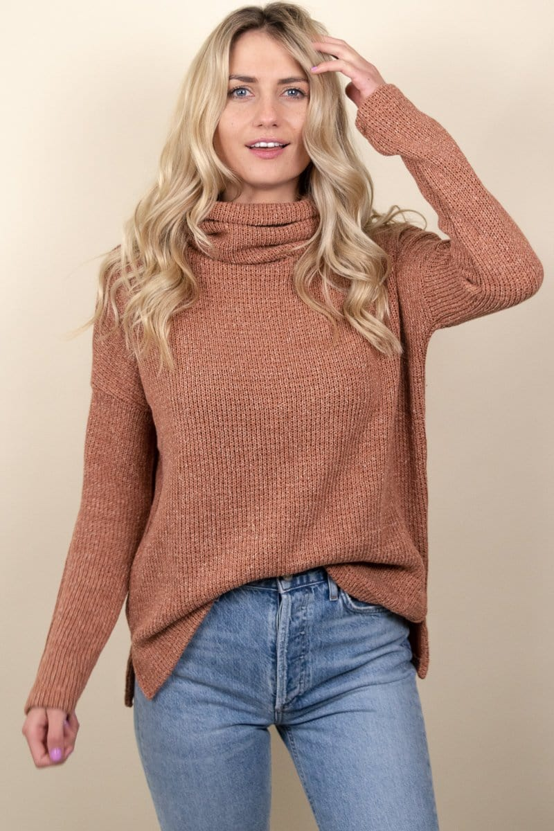 Bobi Funnel Neck Top Rust