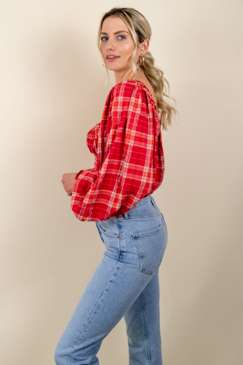 Free People Cherry Bomb Madrass Plaid Top Red Hot