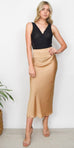 Free People Normani Bias Midi Skirt in Gold Praline