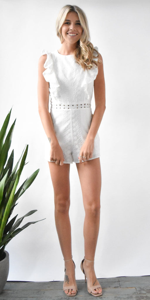 J.O.A. Eyelet Sleeveless Ruffled Romper with Flared Hem | Wild Dove Boutique | San Diego, CA