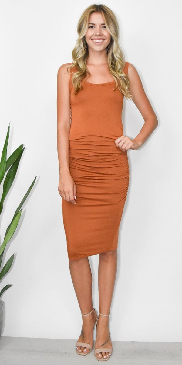 LA MADE Frankie Dress in Leather Brown