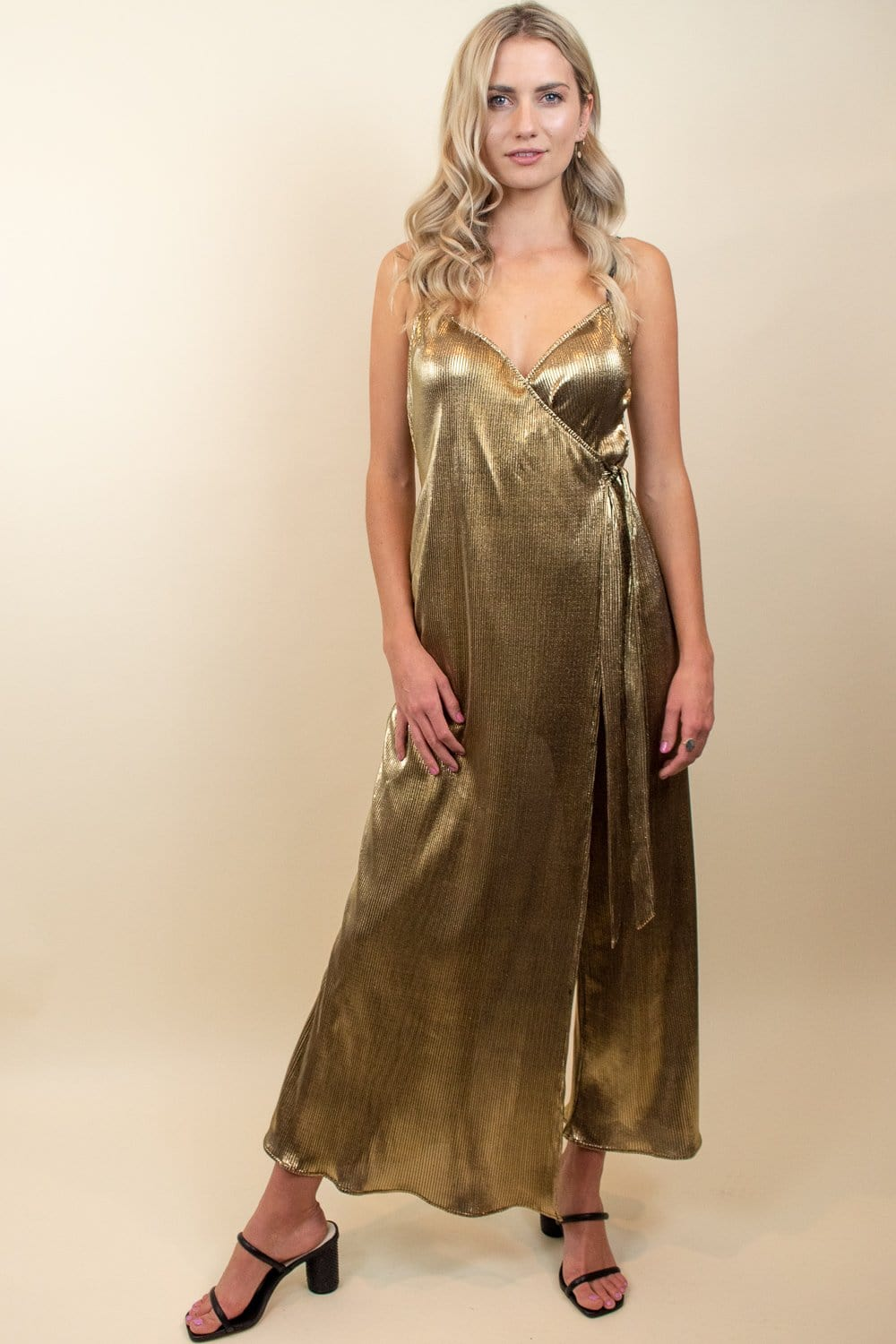 Show Me Your Mumu Jane Jumpsuit Pleated Gold