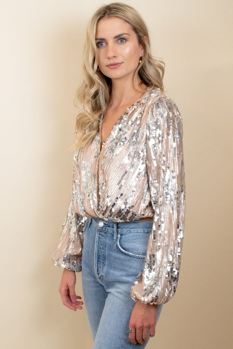 ASTR The Label Primadonna Sequin Top Champagne Sequin