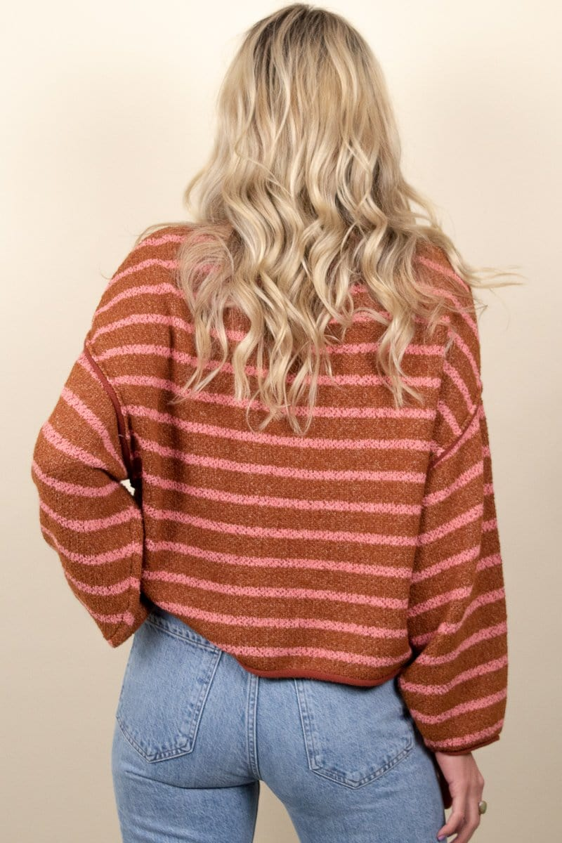 Free People Bardot Sweater Cedar Flower Combo