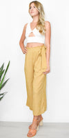 J.O.A. Side Tie Pleated Wide Leg Pant in Mustard Stripe