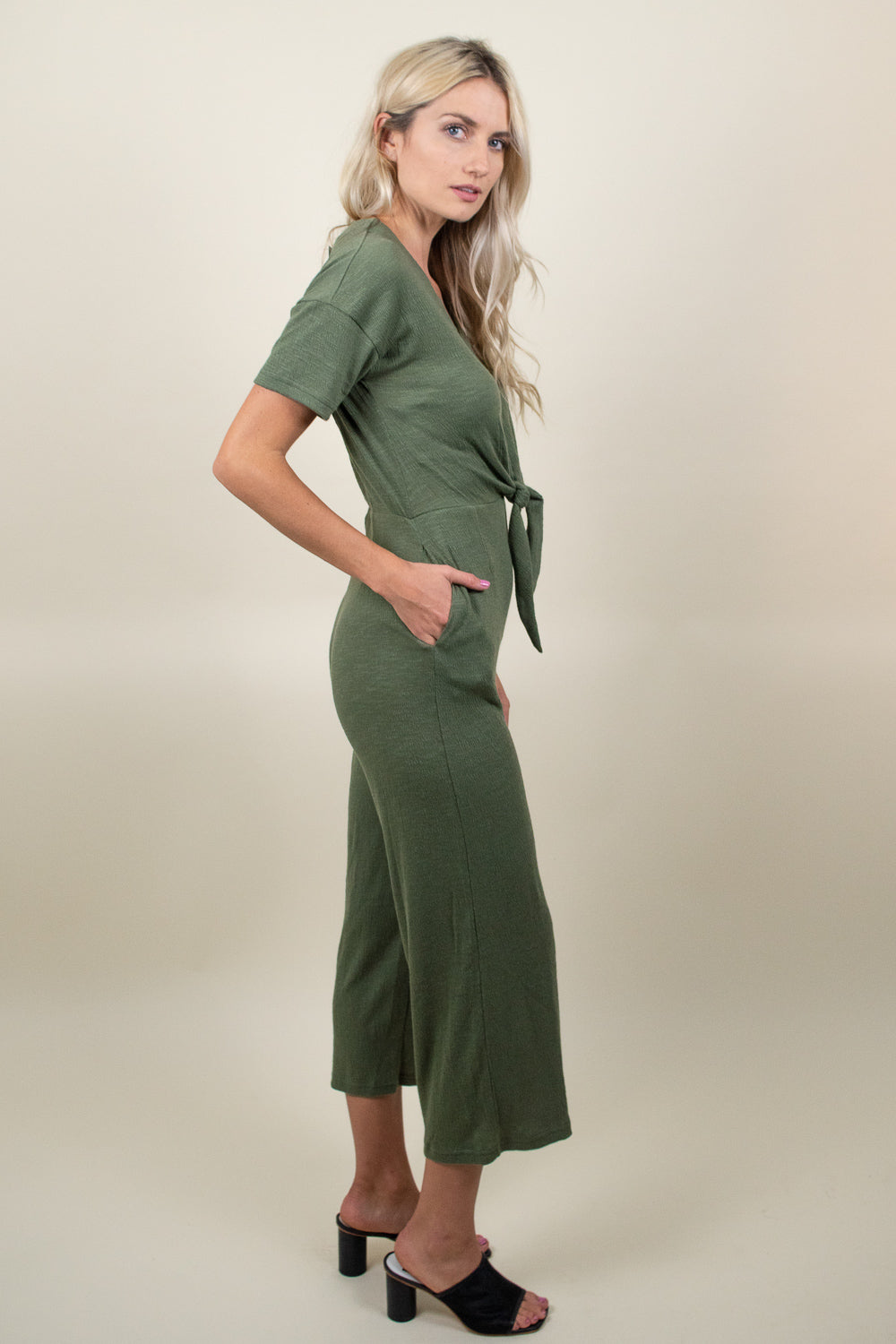 MinkPink Dropped Shoulder Jumpsuit Sage