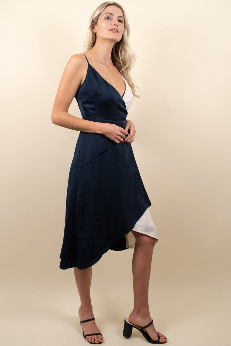 Ali & Jay Cali Romanza Satin Wrap Dress Navy/Ivory