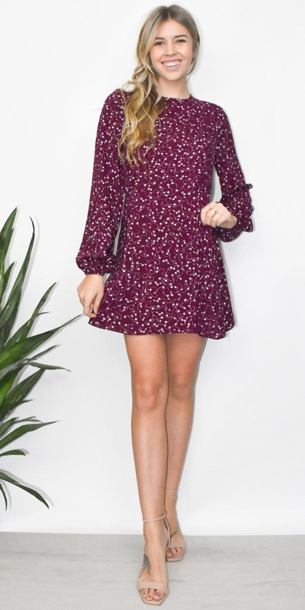 The Fifth Label Celebrated Long Sleeve Dress in Plum Sparkler