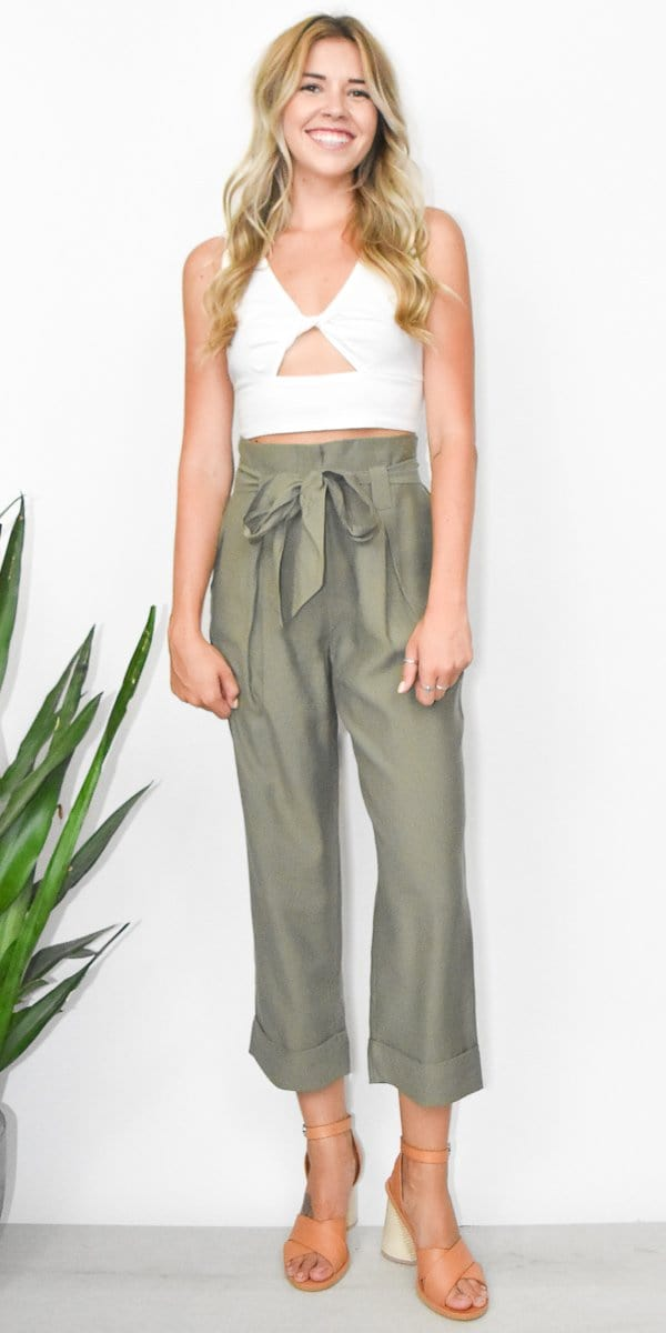 J.O.A. Pleated Roll Up Paper Bag Pants