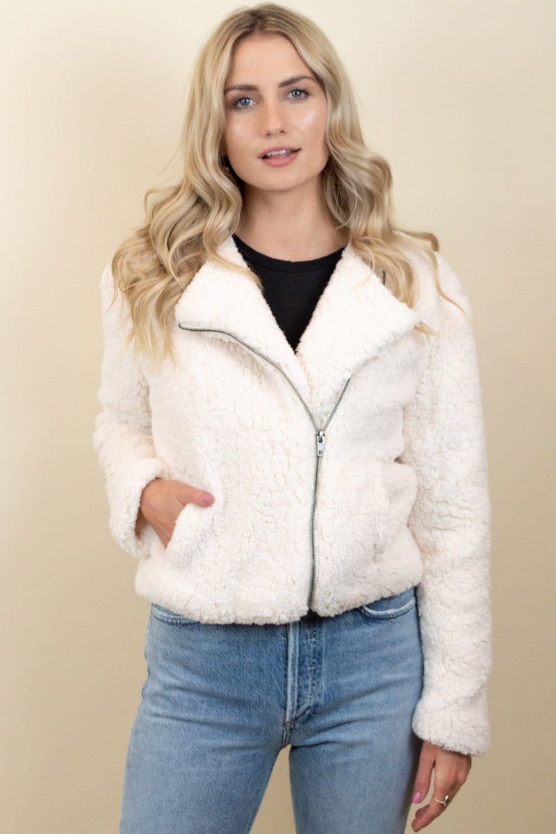 Jack By BB Dakota Country Roads Shearling Jacket Ivory