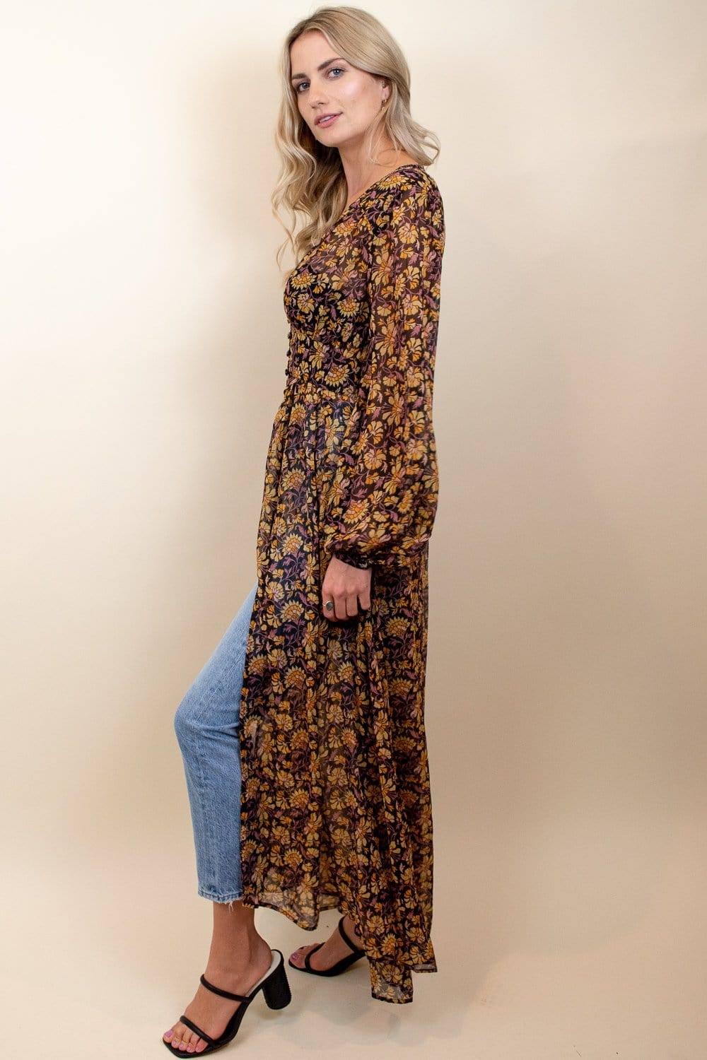 Free People Valerie Duster Honeysuckle Combo
