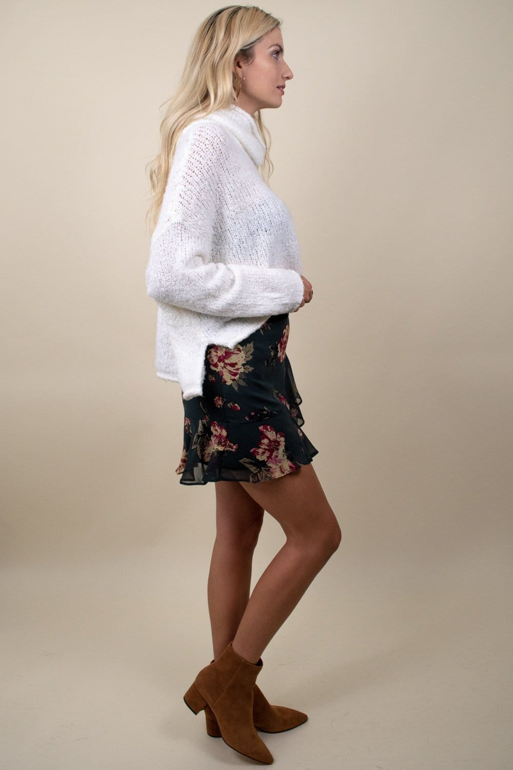 Ruffle Floral Mini Skirt Forest Green