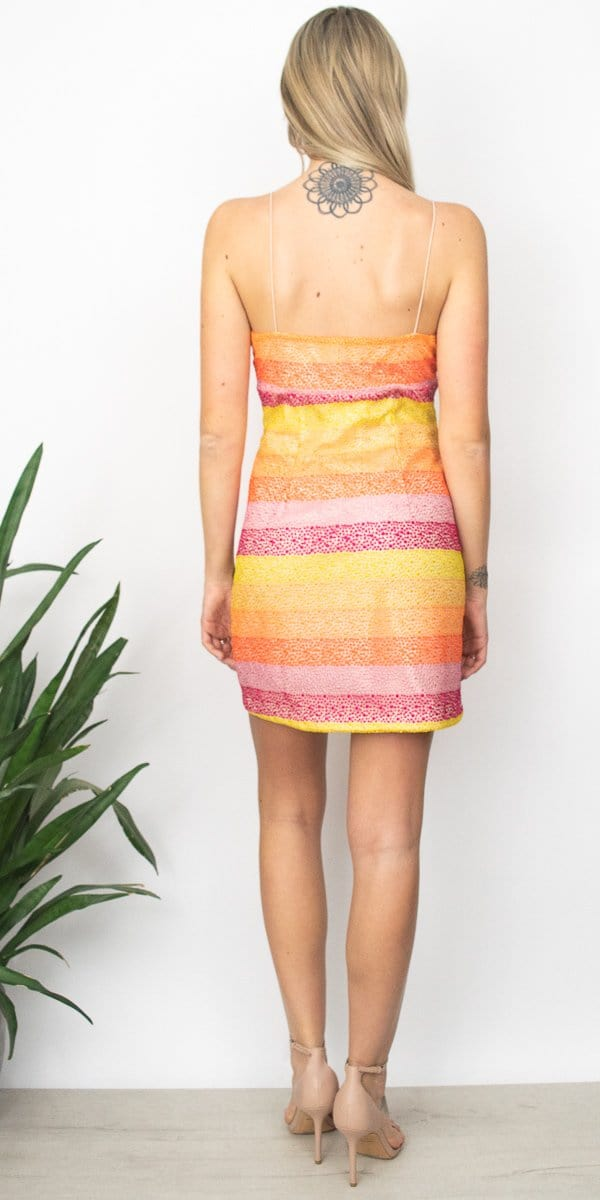 Show Me Your Mumu Clarissa Dress in Fiesta Sunset Stripe