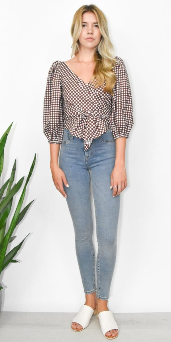 Show Me Your Mumu Darlene Top in Chocolate Cake Gingham Poplin