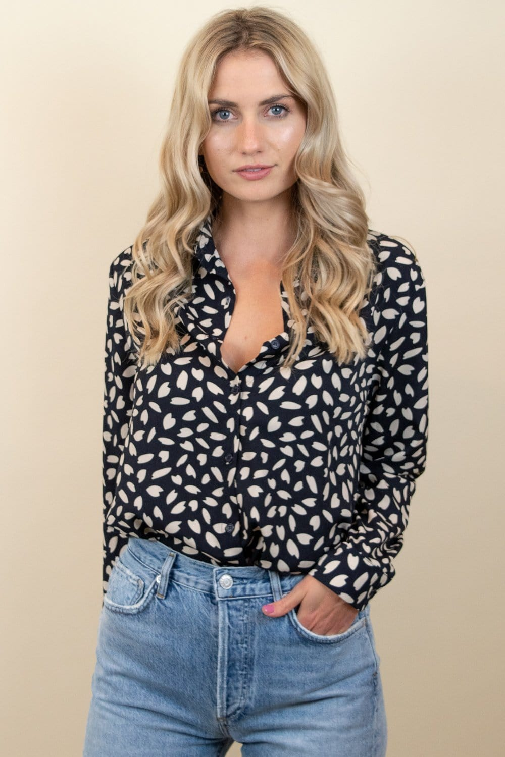 Speckled Button Down Blouse