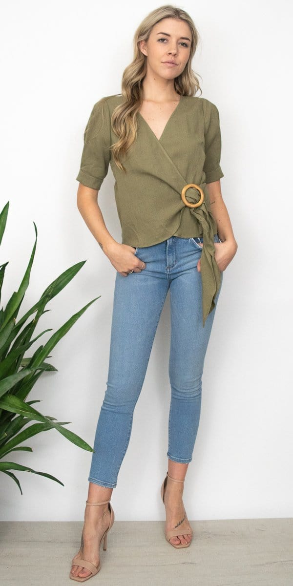 J.O.A. Wooden Bucked Wrap Top in Olive