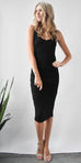 LA Made Frankie Ruched Dress in Black