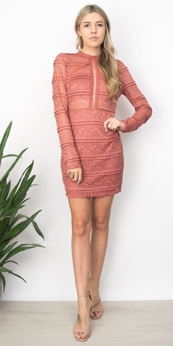 Lush Lucy Lace Dress in Pink Rose