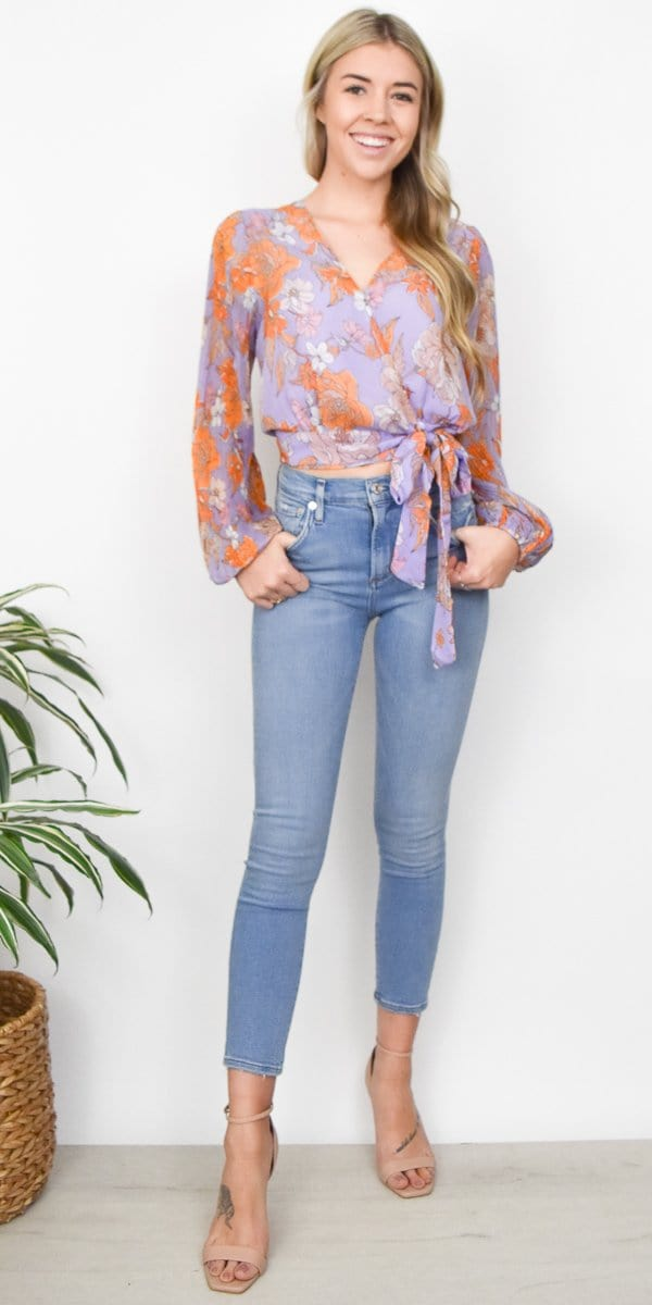 ASTR The Label Brady Top in Electric Lilac Floral