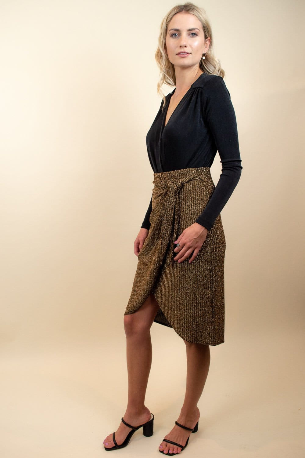 Show Me Your Mumu Anjolie Wrap Skirt Gold Me Up Stripe