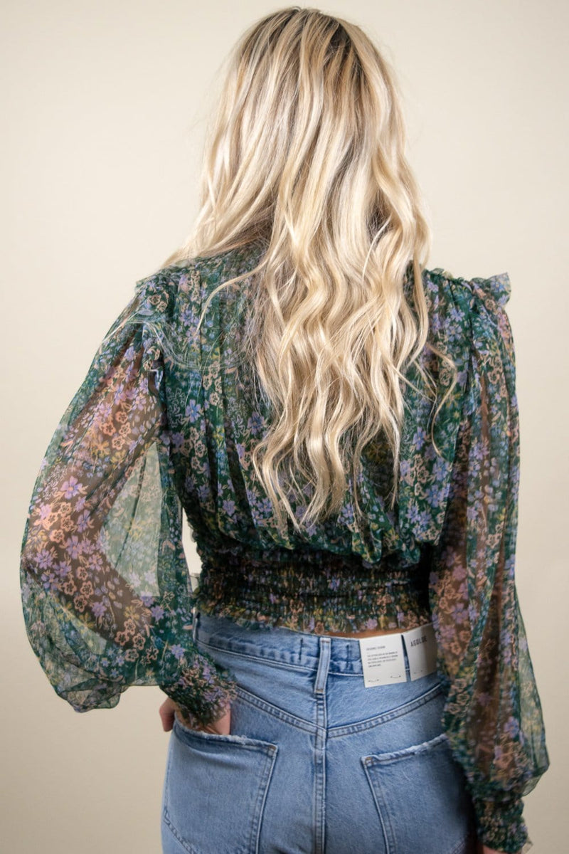 Free People Printed Twyla Top Emerald Combo