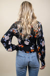 FREE PEOPLE Saturday Night Floral Faux-Wrap Top Black Combo