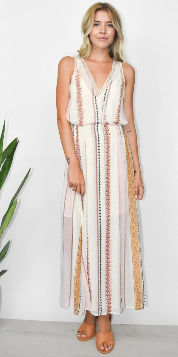 ASTR The Label Millie Dress in Cream Floral Stripe