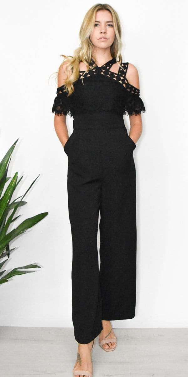 Moon River Cold Shoulder Lace Jumpsuit