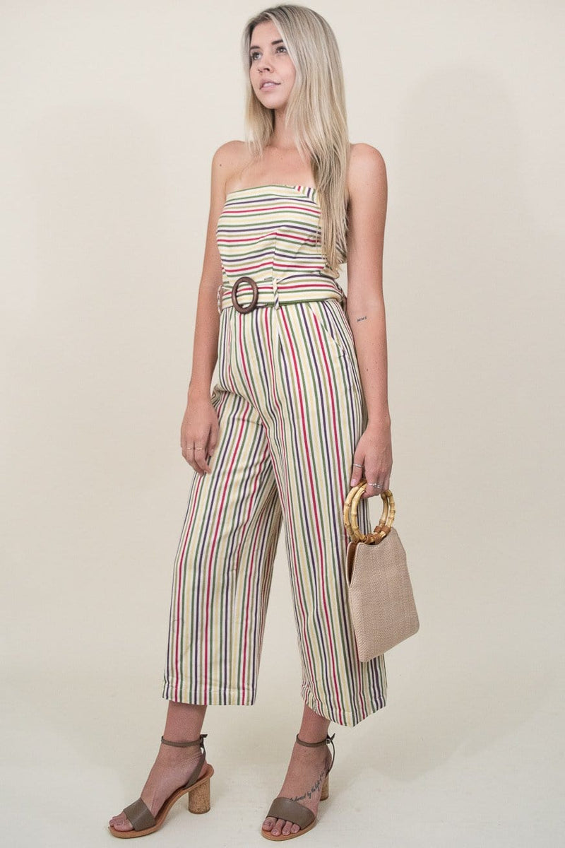 Moon River Off Shoulder Jumpsuit W/ Waist Belt