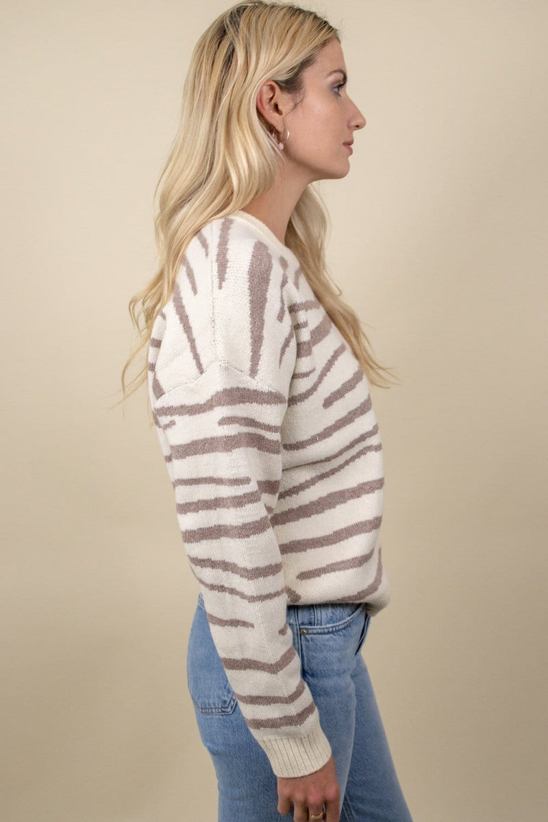 womans zebra sweater