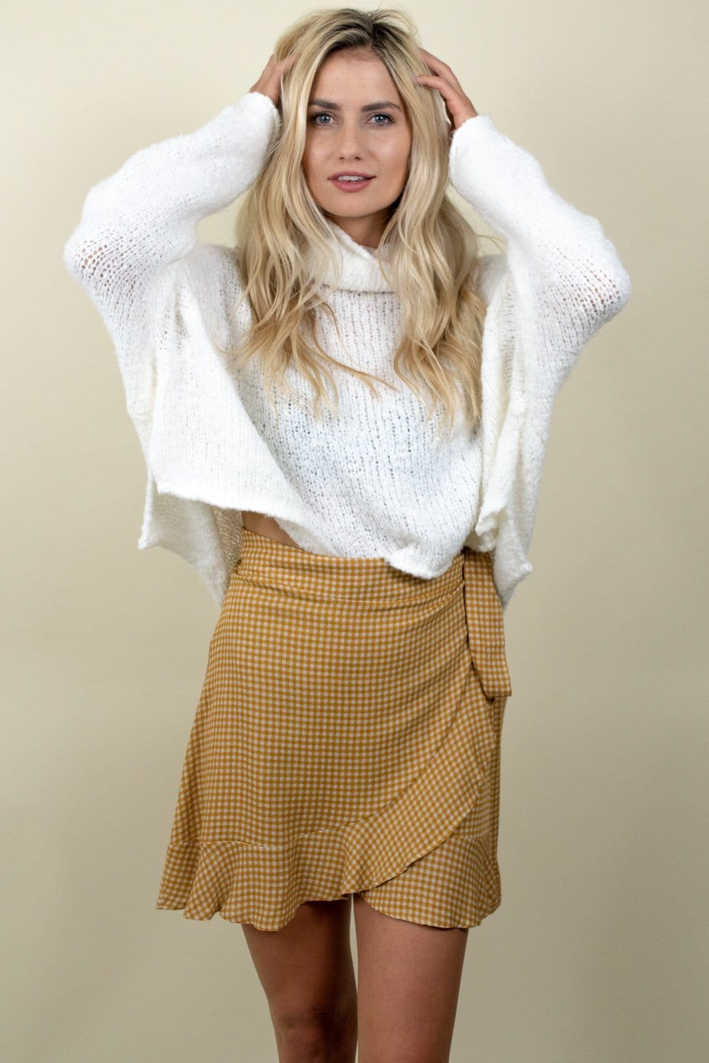 Plaid Wrap Mini Skirt Mustard