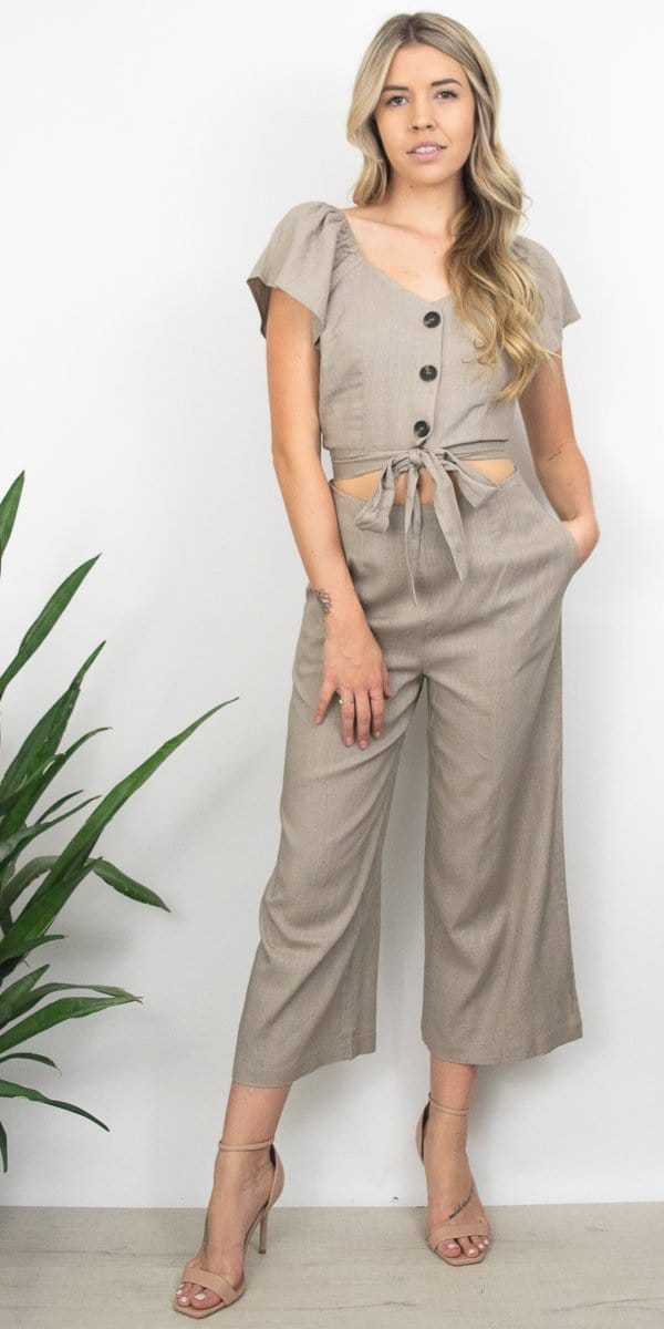 Sage the Label Gwen Culotte Pant in Almond Milk