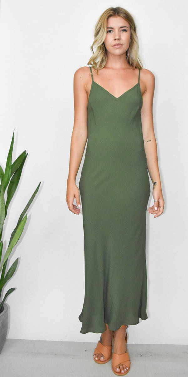 The Perfect Slip Dress in Army Green