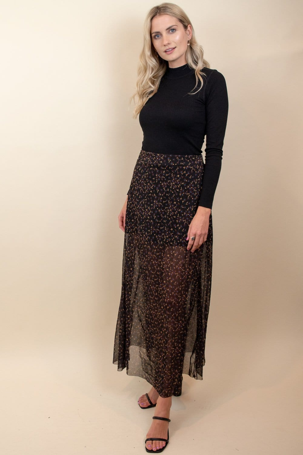 Free People Seven Wonders Skirt Dark Night Floral