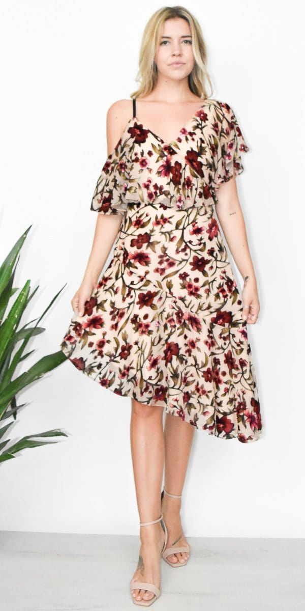 Ali & Jay Don't Mind If I Do Midi Dress in Floral Velvet Burnout