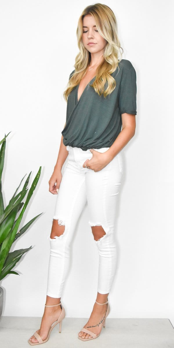 Free People Mid Rise Busted Skinny Jeans in White