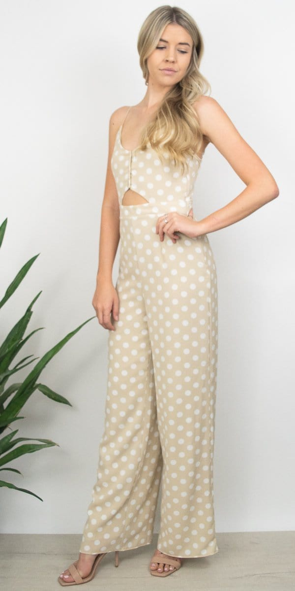 Sage the Label Willa Jumpsuit in Khaki Polka Dot
