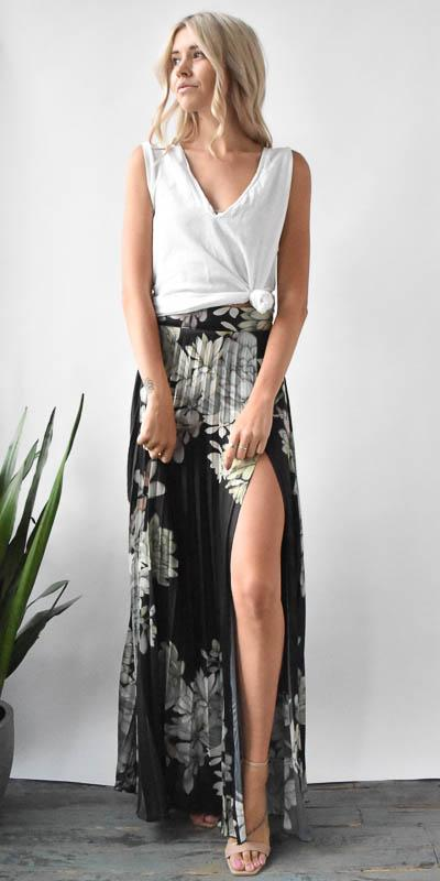 Stillwater The Harlow Skirt in Plants of Paradise Black