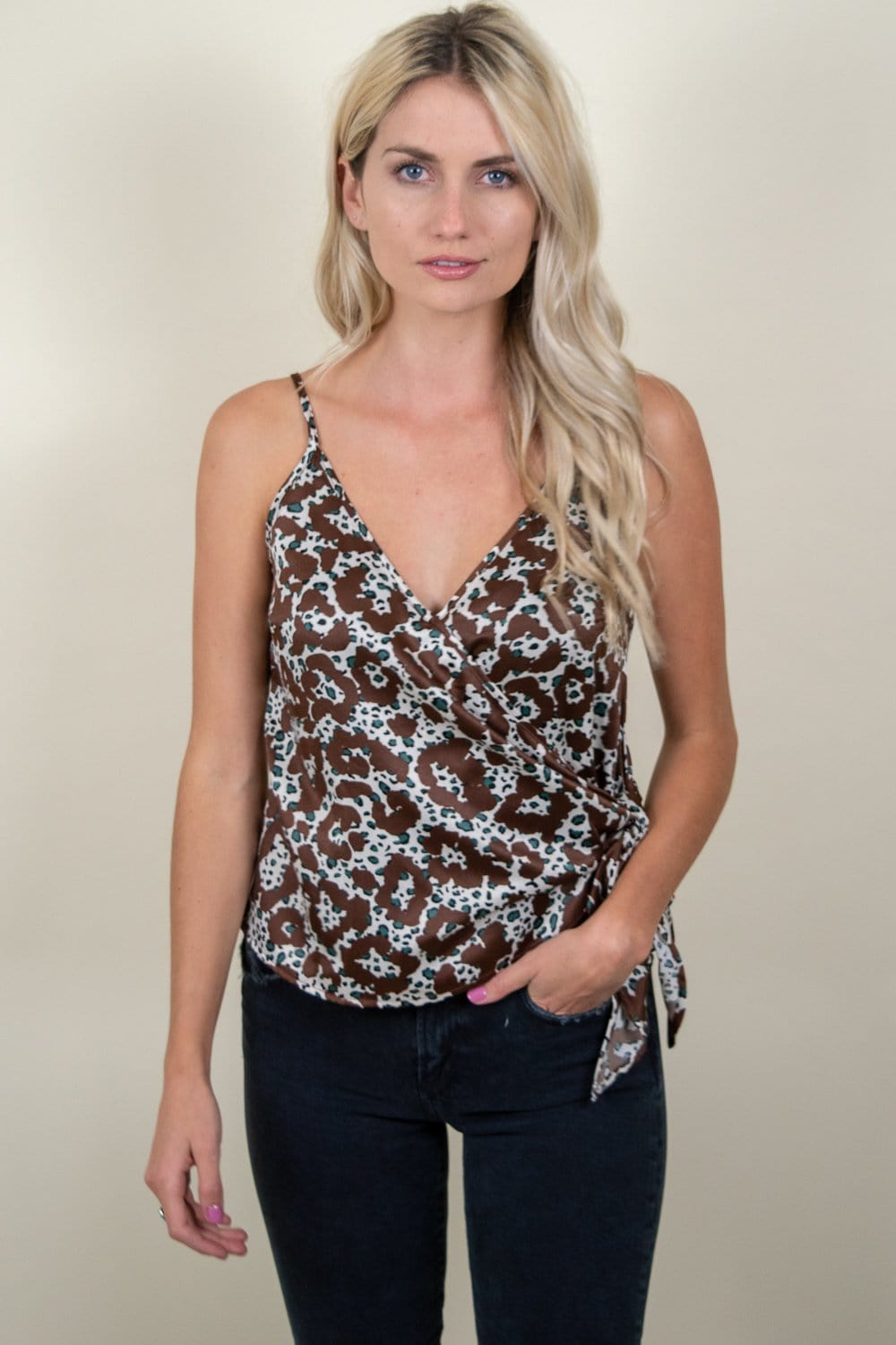 Moon River Front Tie Spaghetti Strap Wrap Top