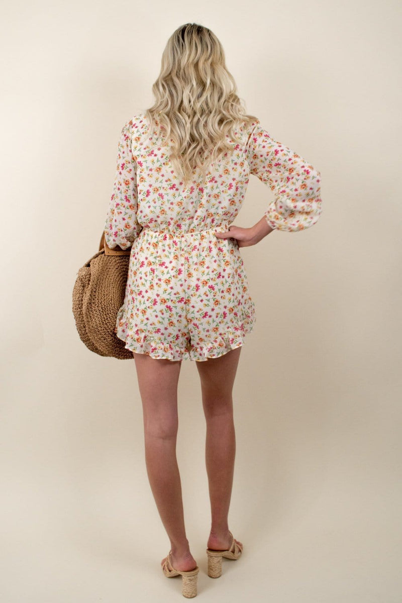 Lost + Wander Love In Bloom Romper Ivory Floral