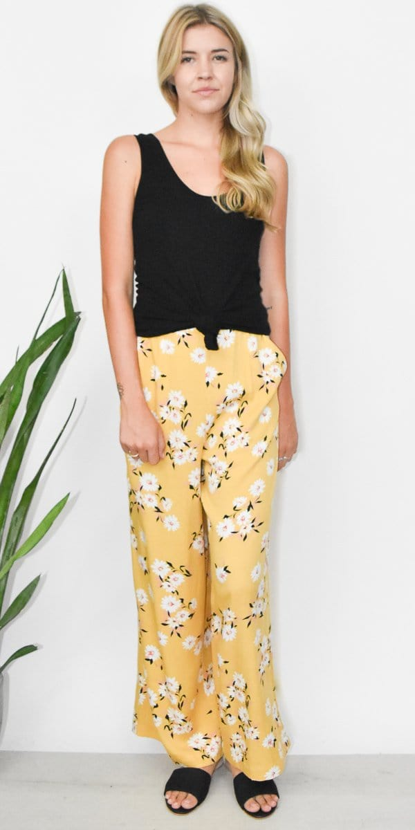 MINKPINK Summer Bloom Pant in Multi Yellow Floral