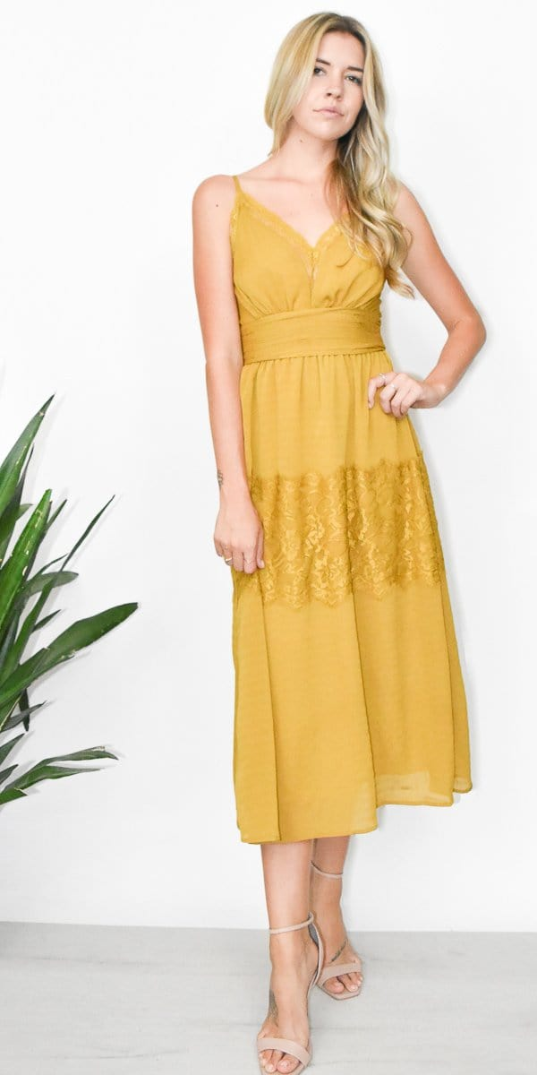 Moon River Sleeveless Midi Dress in Goldenrod