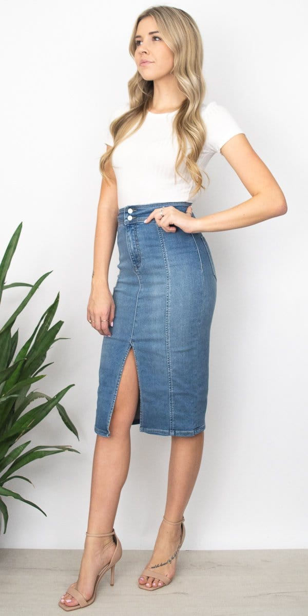 Free People Maddie Denim MIdi Skirt in Brooklyn Blue Indigo