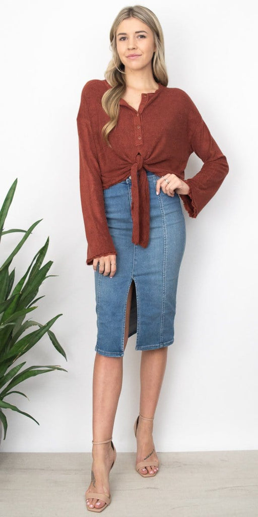 Free People Emmas Henley in Terracotta