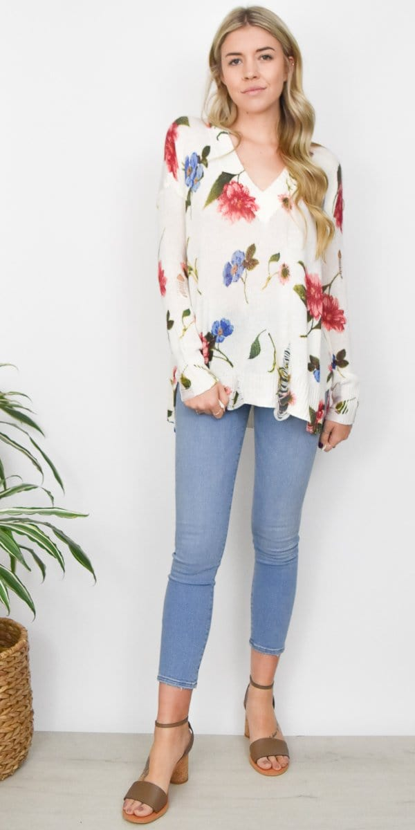 Show Me Your Mumu Cliffside Distressed Sweater in Florence Floral Knit