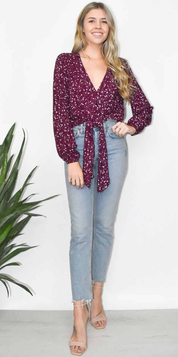 The Fifth Label Celebrated Long Sleeve Top in Plum Sparkler
