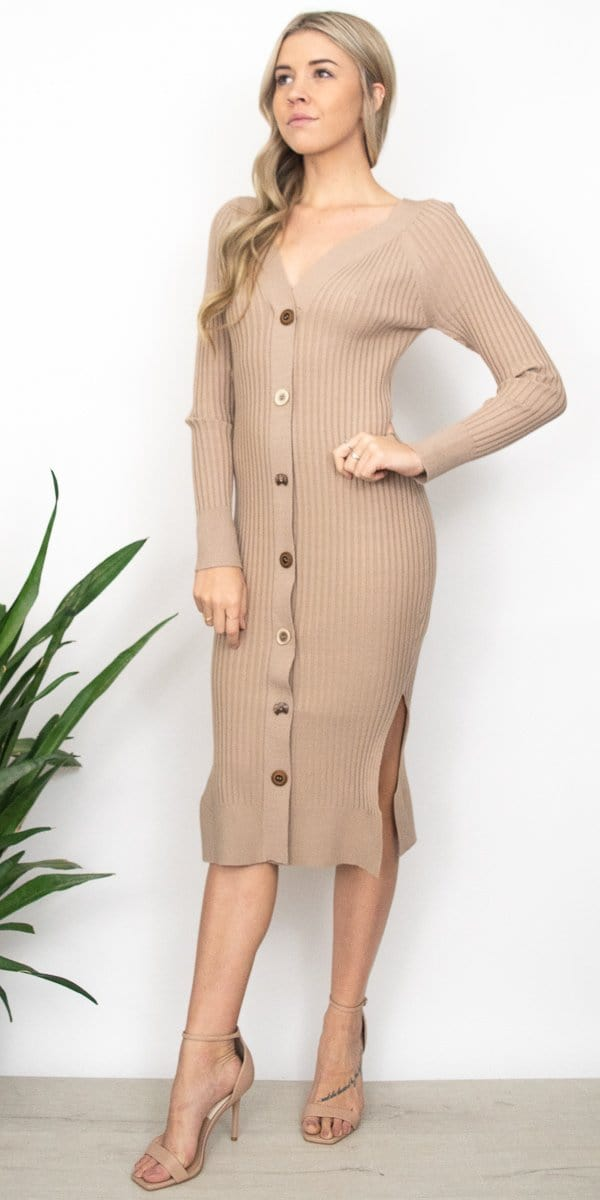 Moon River Ribbed Knit Button Down Dress