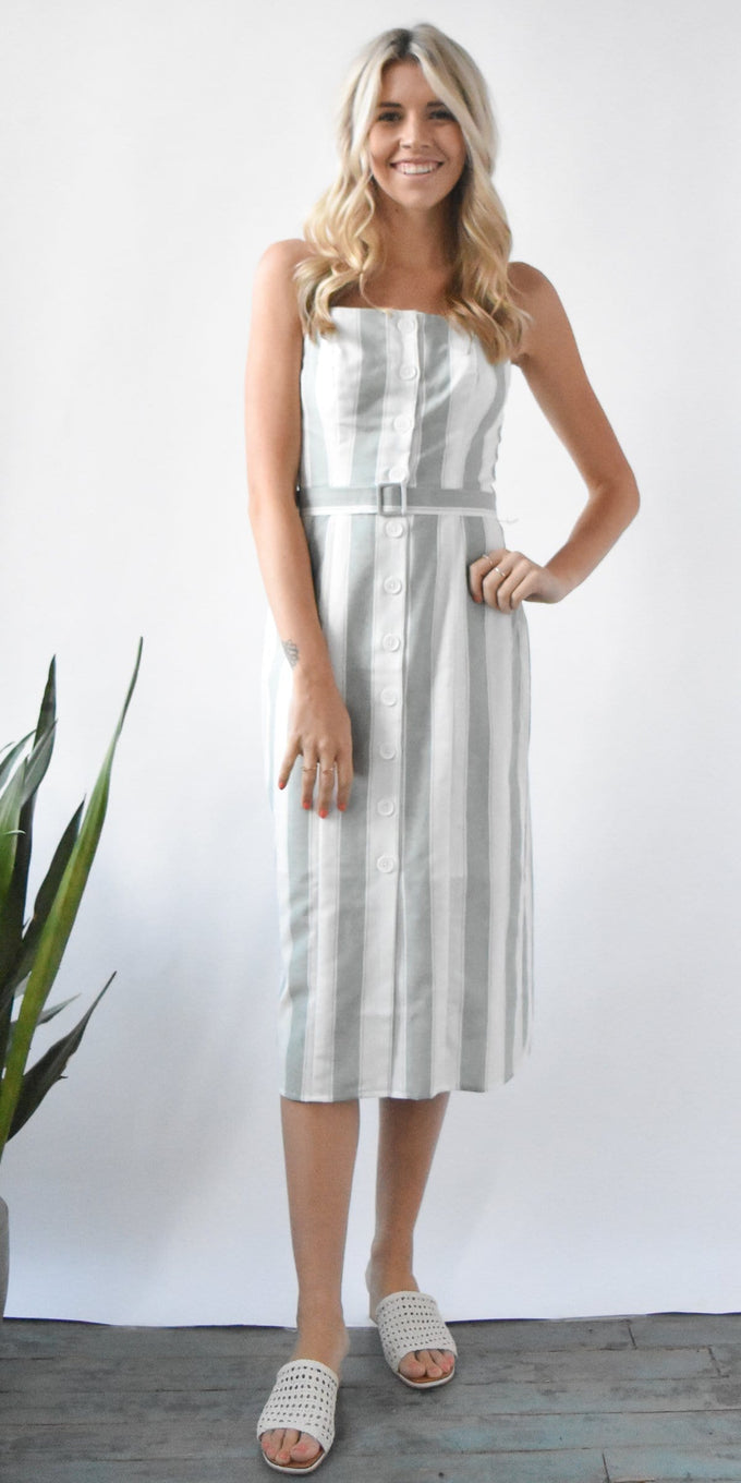 The Fifth Label Poetic Stripe Dress in Sage & White Stripe